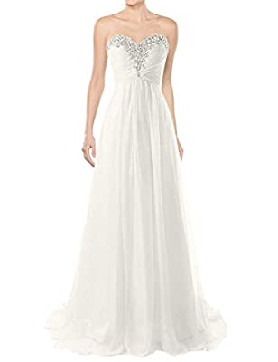 Wedding Dresses Beach Bridal Dress Chiffon Wedding Gowns Strapless Bride Dresses Ivory US2