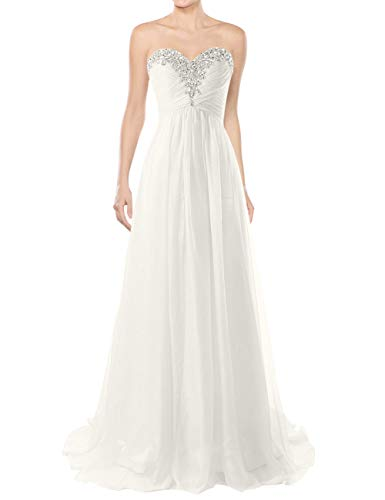 Wedding Dresses Beach Bridal Dresses Chiffon Wedding Gowns Strapless Bride Dress Ivory US18W