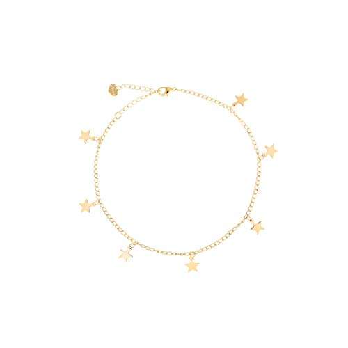 Friendship Gift Handmade Dainty Anklet 14K Gold Plated/Silver Plated Star Lucky Beads Lace Chain Adjustable Foot Chain for Women Mother's Day Gift Ank-Star