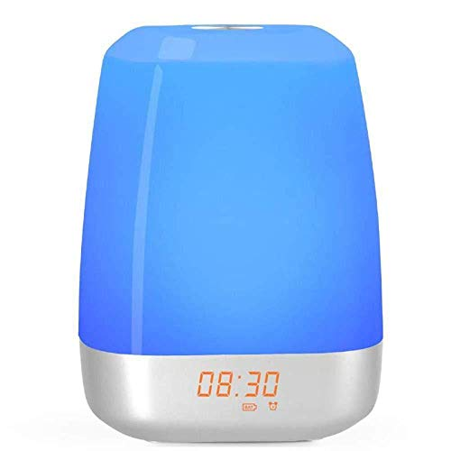 DZXYW Reloj Despertador Despertador con luz Despertador Simulación de Amanecer y 5 Tipos de Sonido Natural Lámpara de mesita LedUSB Sensor táctil Recargable cloc