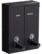 Zanzan Jabonera Dispensador de jabón de Pared de Dos cámaras 2x20.3oz, la Bomba de jabón de Ducha Dispensador Home Hotel Baño Champú Gel de Ducha jabón de Ducha (Color : Black)