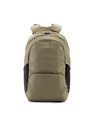 "Pacsafe Metrosafe LS450 25 Liter Anti Theft Laptop Backpack - with Padded 15"" Laptop Sleeve, Adjustable Shoulder Straps, Patented Security Technology (Khaki), Earth Khaki"