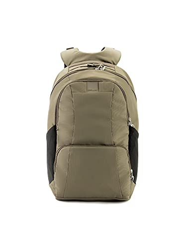 Pacsafe Metrosafe LS450 25 Liter Anti Theft Laptop Backpack - with Padded 15' Laptop Sleeve, Adjustable Shoulder Straps, Patented Security Technology (Khaki), Earth Khaki