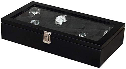 Caja relojes automaticos 12 caja de reloj caja de almacenamiento de madera a cuadros hombres / mujeres con tapa de vidrio / serie de joyas de bloqueo caja de almacenamiento de almacenamiento de pantal