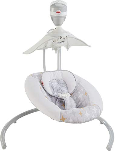 Fisher-Price Starlight Revolve Swing with SmartConnect, Silver/Gold