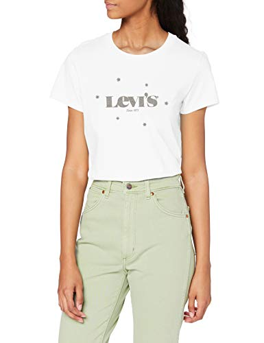 Levi's Damen The Perfect Tee T-Shirt, New Logo with Stars White+, L