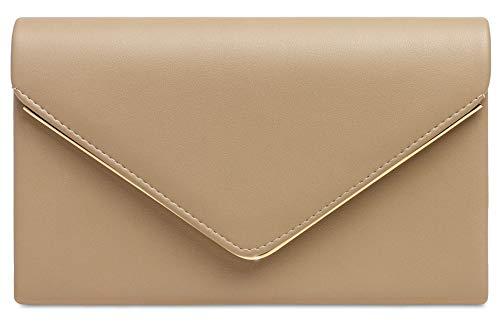 Caspar TA413 Damen elegante Envelope Clutch Tasche Abendtasche mit langer Kette, Farbe:nude, Größe:One Size