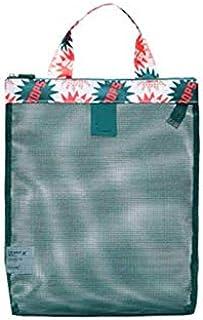 Floral Decor Women Girl Mesh Storage Beach Handbag Shoulder Bag Swimming Wash Shopping Travel Tote Bags Organizer