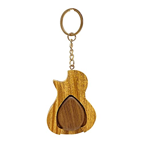 Gitarren-Plektrum Schlüsselanhänger Schlüsselanhänger Gitarren-Plektren Halter Holz-Plektrum Für Gitarristen Musiker Musikliebhaber Musiklehrer Für Akustik-/Elektro-/Bassgitarren