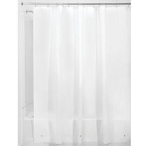 iDesign Duschvorhang aus Stoff, schimmelresistenter Badewannenvorhang aus Polyester in der Größe 183,0 cm x 183,0 cm, wasserdichter Vorhang mit 12 Ösen, frostgrau