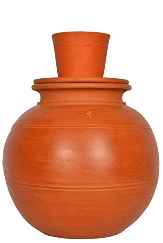 Village Decor Handmade Earthen Clay Water Pot with lid - Carafes Pitcher - (1 Gallon)