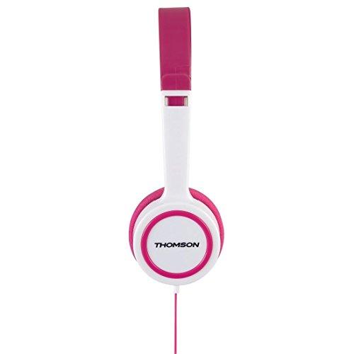 Thomson Kinderkopfhörer On Ear (Lautstärkebegrenzung 85 dB, ultraleicht, spezielle Passform für Kinderköpfe) pink