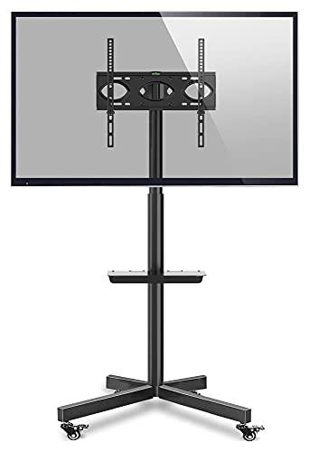 TabloKanvas Soporte para TV móvil con ruedas de 27 a 55 pulgadas, televisores curvados planos de hasta 80 libras, carrito de TV con ruedas, altura ajustable (color negro)