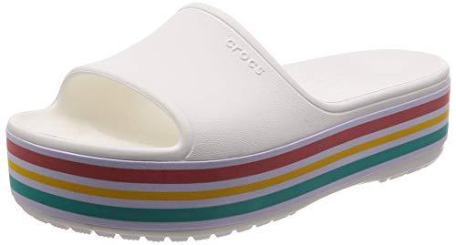 Crocs CB Platform BLD Color Slide U, Zapatos de Playa y Piscina Unisex Adulto, Blanco (White 100b), 41/42 EU