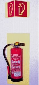 1144. Achterlegplaat voor brandblusser - achterlegingspl. f. Brandblusser lang - 800x500mm