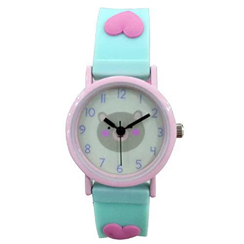 N\C Reloj de cuarzo para estudiantes, con diseño de dibujos animados, tres D, con correa cian + oso