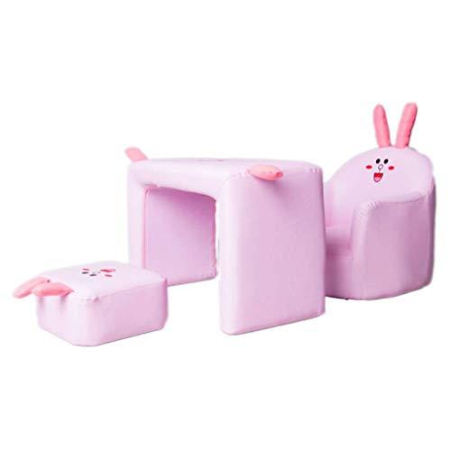 Diaod Enfants Sofa, Kids Multifonctionnel Sofa, PVC Enfant en Bas âge Fauteuil Canapé Design Compact, rembourré Canapé Chaise Set de Table for Les Filles (Color : Pink)