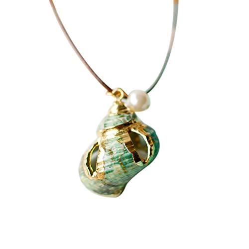 Topdo - 1 Collar de Conchas para Mujer, Joya con Colgante Largo de Cadena para Jersey de Cuello a RAS del Cuello, Accesorios 2,3 x 3 cm, Caracol Verde Hueco