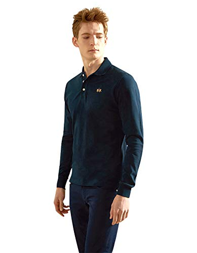La Martina Herren Man Polo L/S Piquet Stretch Poloshirt, Blau (Navy), Large