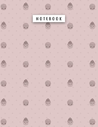 Notebook Rosy Brown Color Small Smile Kawaii Cupcakes Dots Patterns Cover Lined Journal: 21.59 x 27.94 cm, Planning, College, A4