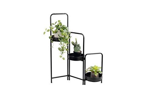 LIFA LIVING Moderne Plantenbak, 3-delig, Zwarte Plantenhouder, Uitschuifbare Metalen Plantenstandaard, Bloempot Houder voor Woonkamer, Slaapkamer, 25 x 52 x 90 cm