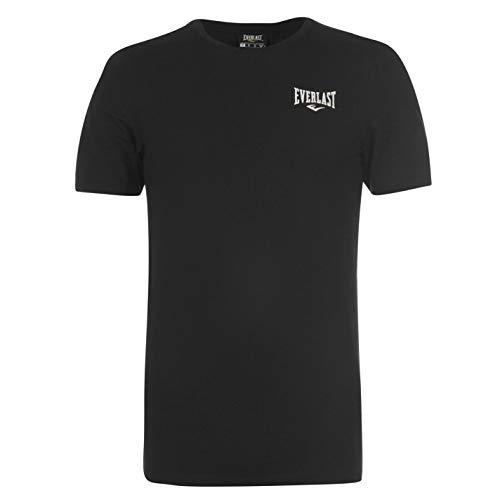 Everlast Herren Logo T Shirt Rundhals mit Logo auf der Brust Schwarz L