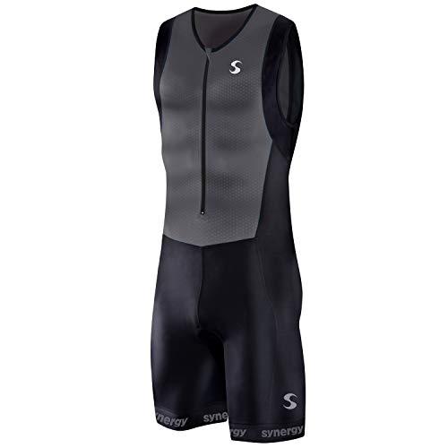 Synergy Triathlon Tri Suit - Men's Sleeveless Trisuit (Charcoal/Black Geo, X-Large)