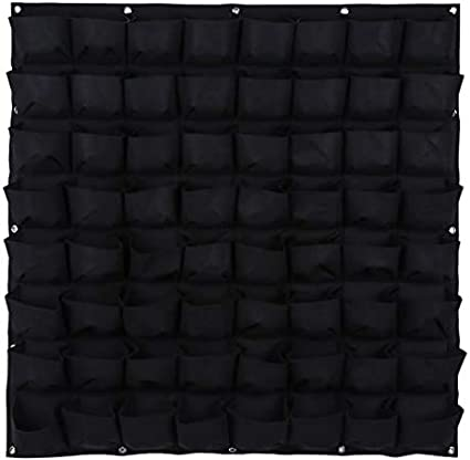 Strong and Highly Durable for Indoor and Outdoor Yosogo 1-Pack 64 Pockets Vertical Wall Grow Bag Soft-Sided Breathable with Reinforced Metal Eyelets and Stackable for Large Coverage Black