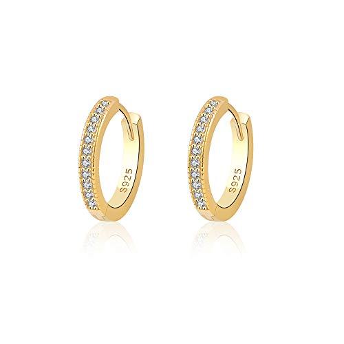 VU100 14K Gold Creolen Ohrringe Damen, 925 Sterling Silber Creolen mit AAA Zirkonia, 15mm Klein Schlafen Kreolen Schmuck