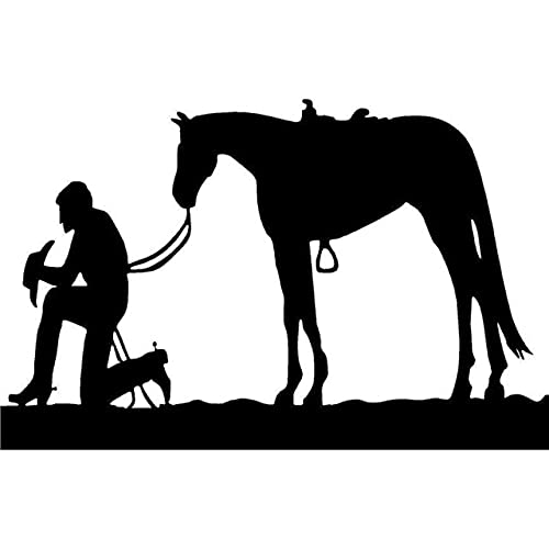 A/X 15,6 cm * 10 cm Rezando Vaquero y Silla de Montar de Caballo Cuerda Pony Mustang Moda Vinilo calcomanía Coche Pegatina Negro/Plata S6-2787Negro