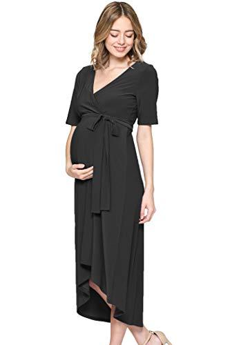Hello MIZ Women's High-Low Surplice Wrap Maternity Dress with Waist Belt (L.