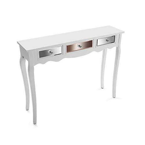 VERSA 21020040 Tavolo d'ingresso Consolle in Legno e specchi con 3 cassetti Ferrara, Bianco, 80,5 x 25 x 106,5 cm