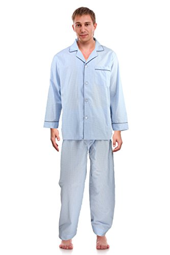 RK Classical Sleepwear Mens Broadcloth Woven Pajama Set, Size X-Large, Checkered Blue