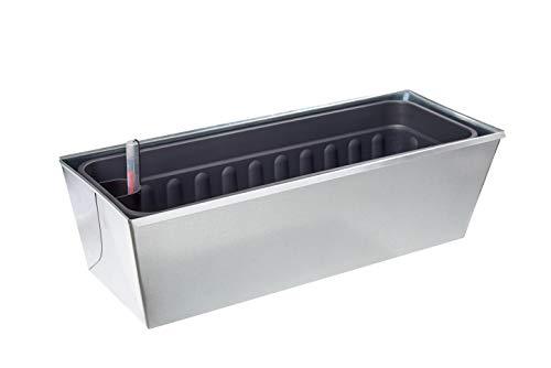 Gabioka flowerbox 60cm DE Luxe mit Wasserstandsanzeige und Wasserspeicher Blumenkasten/Gewürzlinge/Gartendeko/Pflanzkasten für Gabionen und Zäune aus Doppelstabmatten (4, verzinkt)