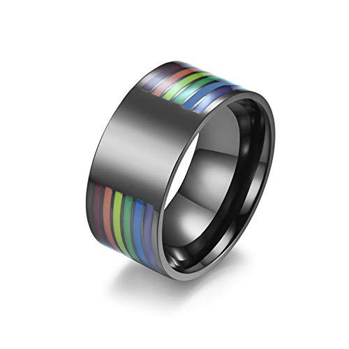 HHW Anillo De Arco Iris De Acero Inoxidable Anillo De Orgullo Gay No Regalos De Joyería De Aniversario De Boda para Damas De Hombre,B,9