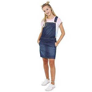 Short Denim Pinafore – Stonewash Dungaree Dress Bib Overall Skirt