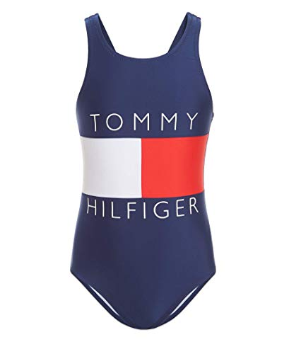 Tommy Hilfiger Kids Girls One-Piece Swimsuit, Tommy Flag Blue, 6