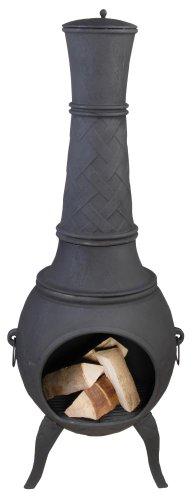 Sehr großer schwarzer Terrassenofen aus Gusseisen mit seitlichen Griffen und dekorativem Schornsteinrelief mit Deckel, Höhe 150 cm
