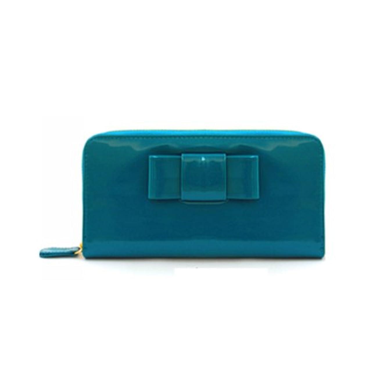 花瓶そうでなければ変装した財布 レディース 長財布 エナメル リボン ラウンドファスナー長財布