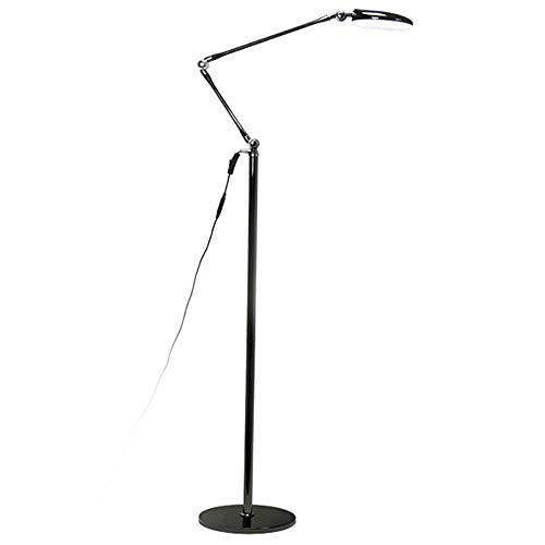 12W LED Swing Arm Floor Lamp, Modern LED Floor Lamps Adjustable Heights, Standing Lamp for Reading, for Living Room Bedroom Office Black