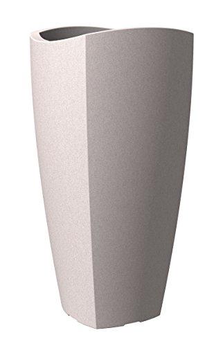Scheurich Wave Globe Cubo High, Hochgefäß aus Kunststoff, Taupe-Granit, 29,6 cm Durchmesser, 60 cm hoch, 9 l Vol.