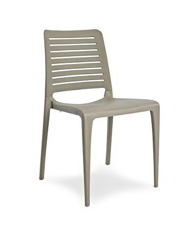 DCB GARDEN Park Chaise de Jardin, Taupe, 56x47x84 cm