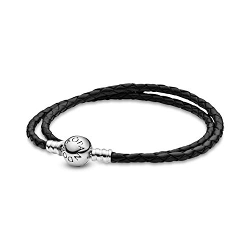 Pandora Damen Moments Armband, schwarzes Leder, zweifach gewickelt Sterling Silber 590745CBK-D1