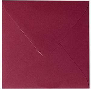 50 sobres cuadrados de color burdeos, 15 x 15 cm, 150 x 150 mm, con adhesivo húmedo.