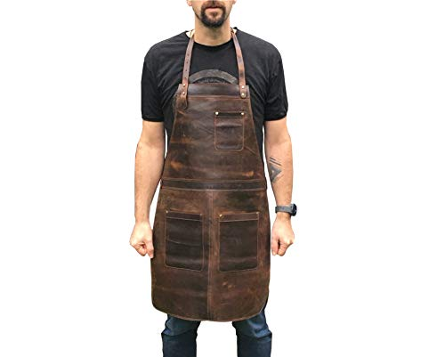 Professional Leather Work Apron for Carpenters Chefs Butchers and Artisans (Medium Brown with Brass)