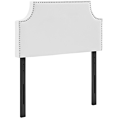 Modway Laura Vegan Leather Upholstered Twin Size Headboard with Nailhead Trim in White
