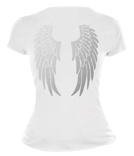 buXsbaum Damen Girlie T-Shirt Engelsflügel | Rückendruck | Karneval Fasching Halloween Kostüm Funshirt | L, Weiß