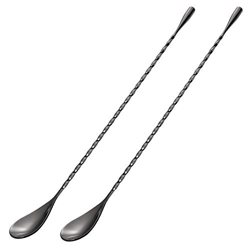 Hiware 2-Pack 12 Inches Stainless Steel Mixing Spoons Spiral Pattern Bar Cocktail Shaker Spoon Black