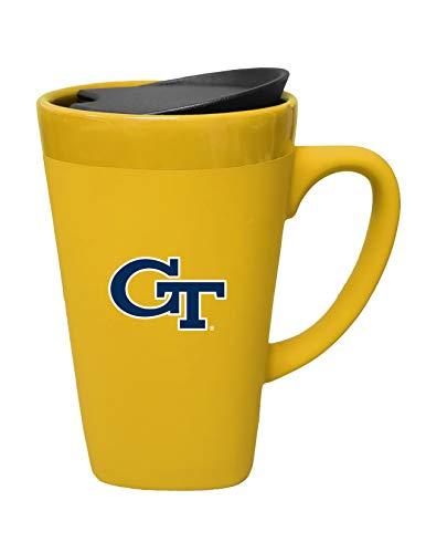 The Fanatic Group Georgia Tech Ceramic Mug with Swivel Lid, Design 1 - Gold