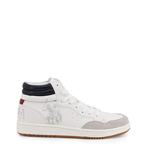 U.S. POLO ASSN. BASK Club, Sneaker a Collo Alto Uomo, Bianco (WHI 001), 43 EU